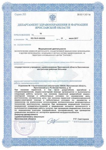 Лицензия 2017 Отделение №1 Кузнечихинской амб.