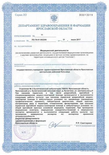 Лицензия 2017 Отделение №2 Кузнечихинской амб.
